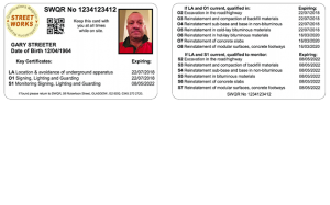 New nrswa streetworks card, combined operative and supervisor sample card, white card.