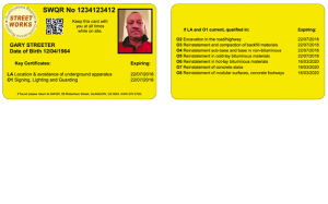 New nrswa operative card, new unit codes, yellow card