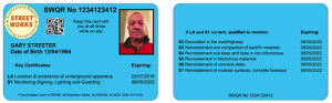 New nrswa supervisor streetworks card, blue card