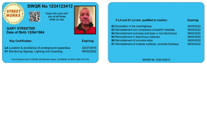 New nrswa supervisor streetworks card, blue card